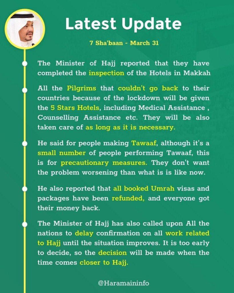 Coronavirus Update from Minister of Hajj Saudi Arabia